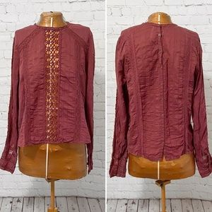 Free People Button Back Lace Blouse
